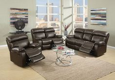 """2 pc Samantha III collection espresso bonded leather upholstered sofa and love seat set with reclining ends. This set includes the sofa and Love seat with recliners on both ends. Sofa measures 83"""" x 39"""" x 40"""" H. Love seat measures 62"""" x 39"""" x 40"""" H. Optional single reclining chair available separately and measures 40"""" x 39"""" x 40"""" H. Some assembly required."""