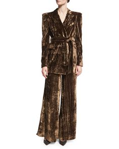 Long Metallic Crinkle-Velvet Blazer, Brown and Matching Items by Co at Neiman Marcus.