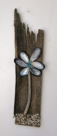 Driftwood and Shell Flower, Reclaimed Wood Flower, Rustic Home Decor, Beach Home Decor