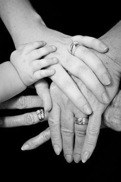 Sweet 4 Generation hands photo. WILL do this! On both sides of our family! Give each grandparent an enormous frame with this in it! Such a great idea!!!