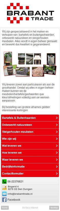 De homepage van de mobiele versie van Brabant Trade. Door deze aparte mobiele versie kan content beter worden gepresenteerd op een smartphone. m.brabanttrade.nl