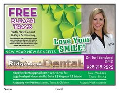 d40a33b5245 New patients will receive a FREE bleach tray at  RidgeviewDental this  month! Must present. ""