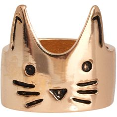 ASOS Cat Face Ring ($6.65) ❤ liked on Polyvore featuring jewelry, rings, accessories, fillers, gold, engraved jewelry, asos rings, engraved rings, cat jewelry and cat ring