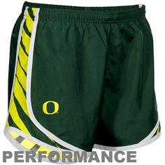 Nike Oregon Ducks Ladies Green Striped Tempo Performance Shorts