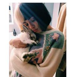 Melanie and her bunny, aww <3