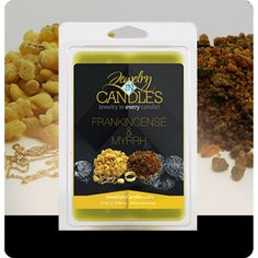 Prized for their alluring fragrance...finest gift to give a King! Embodies the classic and enchanting aromatic blend of frankincense and myrrh, with bergamot, patchouli and sandalwood. Frankincense & Myrrh Wax Tart  Infused with natural essential oils including Bergamot, Coriander, Lemon, Orange, and Patchouli.