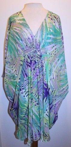 Jennifer Lopez Dress M Green Purple Palm Resort Embellished Chiffon Caftan Dress #JenniferLopez #Caftan #CasualResortBeachVacation