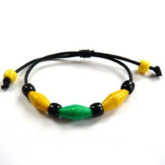 Trio Bead Bracelet - Made using handmade paper beads and pony beads