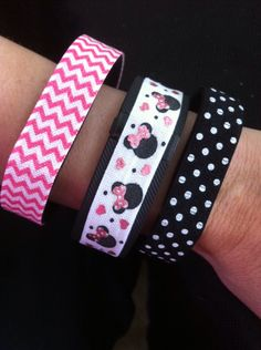 Fitness Band Cover for Fitbit Flex, Fitbit Charge or Fitbit ChargeHR, Set of 3:  Pink Chevron(072), Princess Mouse(084), B&W Polka Dot(093) by BananaWindDesign on Etsy https://www.etsy.com/listing/234648469/fitness-band-cover-for-fitbit-flex