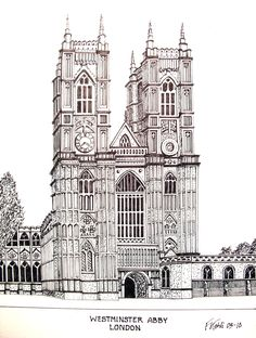 WESTMINSTER ABBY - Pen and ink drawing by Frederic Kohli of the historic Westminster Abby in central London. Architectural artwork.(prints available at http://frederic-kohli.artistwebsites.com)