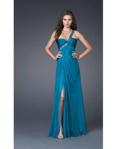 Chiffon One Shoulder Slit Front Prom / Evening Dress on Sale at Persun.co.uk -