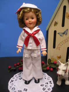 "12"" Ideal Shirley Temple Doll In White Sailor Set When I was about 8 years old  I got a 12 inch vinyl Shirley with several outfits including this sailor outfit"