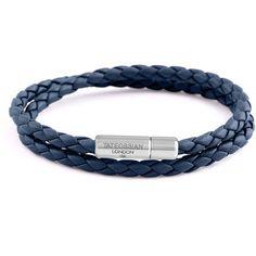 Tateossian Men's Braided Leather Double-Wrap Bracelet (23020 RSD) ❤ liked on Polyvore featuring men's fashion, men's jewelry, men's bracelets, navy, mens woven bracelets, mens watches jewelry, mens bracelets, mens engraved bracelets and mens wrap bracelet