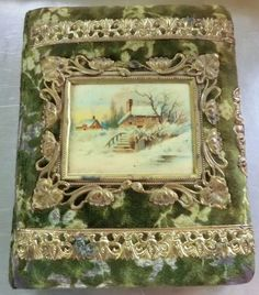Victorian Photo Album with Celluloid Winter Scene Picture, Ornate Trim and Velvet Covered Fabric. Victorian Photos, Antique Photos, Antique Books, Vintage Photographs, Vintage Books, Old Photos, Vintage Photos, Bible Photos, Vintage Photo Album
