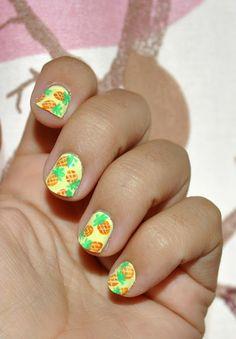 Pineapple design nails ♡