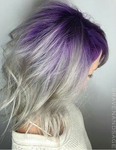 Gray purple ombre dyed hair                                                                                                                                                      More