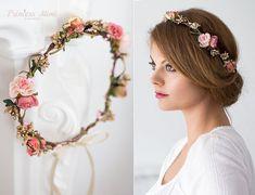 Braut Blumenkranz Hochzeit Haarband Blumen von MimiPrincess auf Etsy