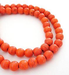 Orange Howlite Beads  Orange Turquoise Round Ball   by BijiBijoux