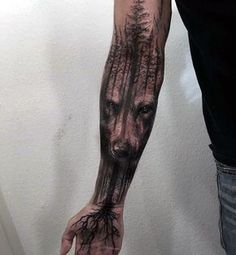 awesome Tattoo Trends - Wolf Tree Roots Mens Masculine Forearm Sleeve Tattoo...