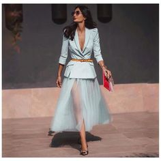 blazer tulle skirt wedding dates at formal Classy Outfits, Chic Outfits, Beautiful Outfits, Paris Chic, Mode Outfits, Skirt Outfits, Look Fashion, Womens Fashion, Fashion Design