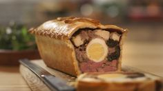 "Mary Berry makes tasty raised chicken and ham pie with hot water crust pastry for the festive season on Mary Berry's Absolute Christmas Favourites. Mary says: ""This pie is perfect for a… Mary Berry, Boxing Day, Chicken And Ham Pie, Hot Water Pastry, British Baking Show Recipes, Great British Bake Off, Tasty, Yummy Food, English Food"