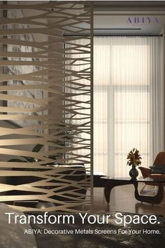 Looking for ideas on how to Divide a Room? Why not chose a Metal Decorative Screen / Panel by ABIYA Mashrabiya. Our Screens are made of Aluminum and are Light Weight, Easy to install, ALL CUSTOM (chose your color, size, pattern), 2 year warranty and don't forget..STUNNING to look at! Visit our website today to see how you can use our panels in your Dubai Interior Design. Designed & Manufactured in Dubai, UAE. Decorative Screen Panels, Decorative Room Dividers, Exterior Design, Interior And Exterior, Laser Cut Screens, Room Partition Designs, Privacy Screen Outdoor, Laser Cut Metal, Architectural Elements