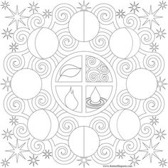 Moon phases coloring page