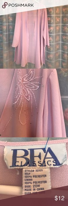 BFA Classics shrug like pink long sleeves coverup BFA Classics coverup can be used for dress up at the pool or over a night gown, dress or top classy size 20W BFG Classics Jackets & Coats