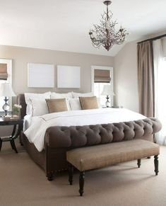 This elegant master bedroom has a simple yet effective palette of shades of browns ivory and white. The combination of crisp white linens subtle textures and tonal value creates a refined bedroom design. - June 29 2019 at Rustic Bedroom Design, Master Bedroom Design, Master Bedrooms, Bedroom Designs, Master Bath, Cozy Bedroom, Dream Bedroom, Bedroom Ideas, Taupe Bedroom