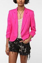Sparkle & Fade Cropped Ruched Sleeve Blazer  #UrbanOutfitters  Come home to momma hot pink hottie