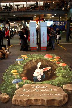 3d street art, Alice in Wonderland. Down the rabbit hole.