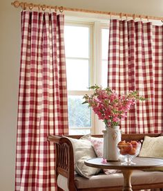Red and White Buffalo Check/Gingham Rod Pocket Curtains - $49.50 to $76.50 per panel - Country Curtains