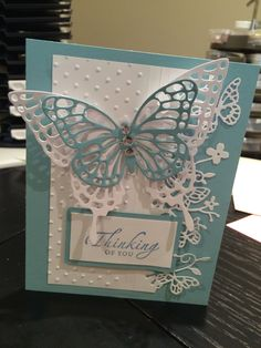 Memory Box Kensington Border and Stampin Up butterflies dies, Polka Dot embossing folder.
