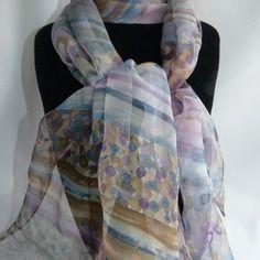 """Echarpe foulard en mousseline de soie peint main """" matin d'hiver """""""