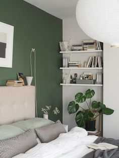 A simple, soothing, botanical green bedroom makeover - the reveal! Green And White Bedroom, Green Bedroom Walls, Green Master Bedroom, Bedroom Wall Colors, Room Ideas Bedroom, Small Room Bedroom, Home Decor Bedroom, Small Rooms, Green Bedroom Colors