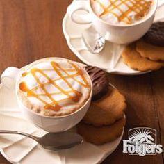 Folgers Coffee Recipes Caramel Macchiato, Chocolate Raspberry Tartlets, Chocolate Pancakes with Chocolate Caramel Sauce The Balan. Coffee Drink Recipes, Coffee Drinks, Tea Drinks, Cocktail Drinks, Cold Drinks, Cocktails, Caramel Macchiato Recipe, Folgers Coffee, Espresso