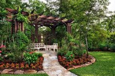 The wooden pergola is a good solution to add beauty to your garden. If you are not ready to spend thousands of dollars for building a cozy pergola then you may Pergola Patio, Backyard Landscaping, Steel Pergola, Wisteria Pergola, Corner Pergola, Modern Pergola, Cheap Pergola, Landscaping Ideas, Small Backyard Gardens