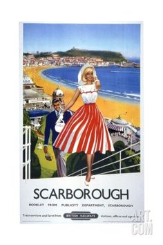 inch) Print (other products available) - Poster produced by British Railways (BR) to promote train services to Scarborough, East Riding, Yorkshire. Artwork by an unknown artist. - Image supplied by National Railway Museum - Print made in Australia Posters Uk, Train Posters, Railway Posters, Retro Posters, Beach Posters, National Railway Museum, Tourism Poster, British Rail, Vintage Travel Posters
