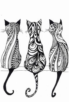 Tatouage chat : signification et Top 60 motifs de tattoo chat 85 adorable cat tattoos Doodles Zentangles, Zentangle Patterns, Zentangle Art Ideas, Ink Doodles, Zentangle Drawings, Quilt Patterns, Colouring Pages, Adult Coloring Pages, Cat Coloring Page