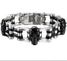 Homme: Bracelet Chaîne de Moto en Acier Inoxydable
