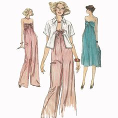 1980s Strapless Jumpsuit, Dress and Jacket Very Easy Vogue 9786 Vintage Sewing Pattern Size 8 Bust 31.5
