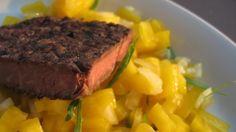 Grillet tunfisk med mangosalsa
