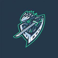 E-sports team logo with samurai Premium Vector Samurai, Logo Esport, Team Logo Design, Identity Design, Brand Identity, Ninja Logo, Sports Team Logos, Esports Logo, E Sport
