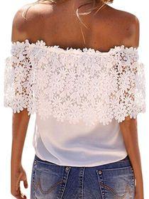 Slash Neck Solid Short Sleeve Lace Hems Blouse img