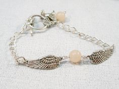 ANGEL WING Bracelet/Women's Silver Bracelet/Gemstone by babbleon, $18.00
