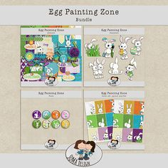 """This bundle is an option to buy all of the """"Egg Painting Zone"""" products and save money. Whimsical, How To Draw Hands, Eggs, Scrapbook, Painting, Kit, Shop, Design, Egg"""