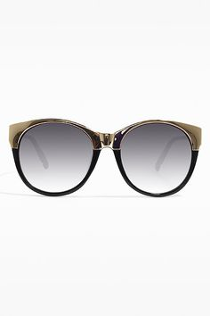 'Reese' Oversized Round Metal Accent Sunglasses - Black/Gold - 5499-1