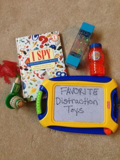 Favorite distraction toys for a coping kit or emergency go- bag.