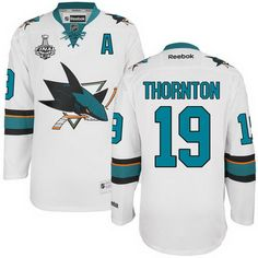 San Jose Sharks #19 Joe Thornton White 2016 Stanley Cup Away NHL Finals A Patch Jersey