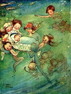 Charming children's illustration by Mabel Lucie Attwell, Water Babies
